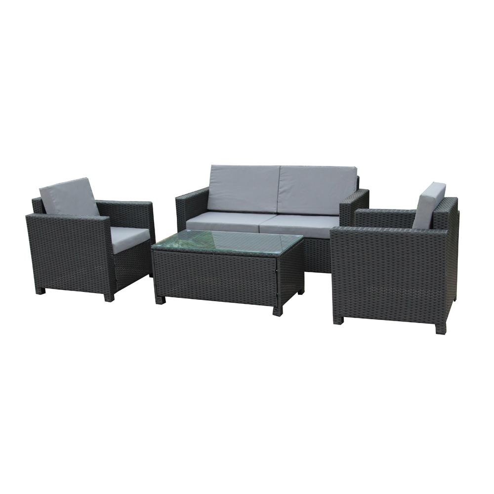 ALEKO Black 4-Piece Wicker Patio Conversation Set with Gray Cushions