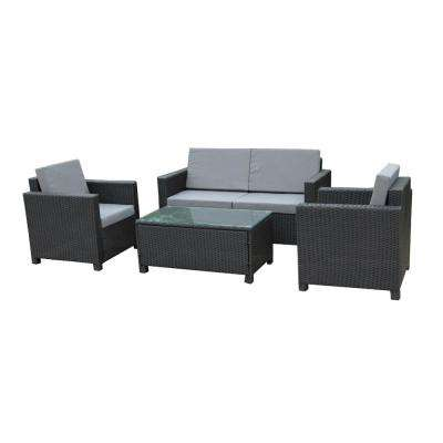 Black 4-Piece Wicker Patio Conversation Set with Gray Cushions