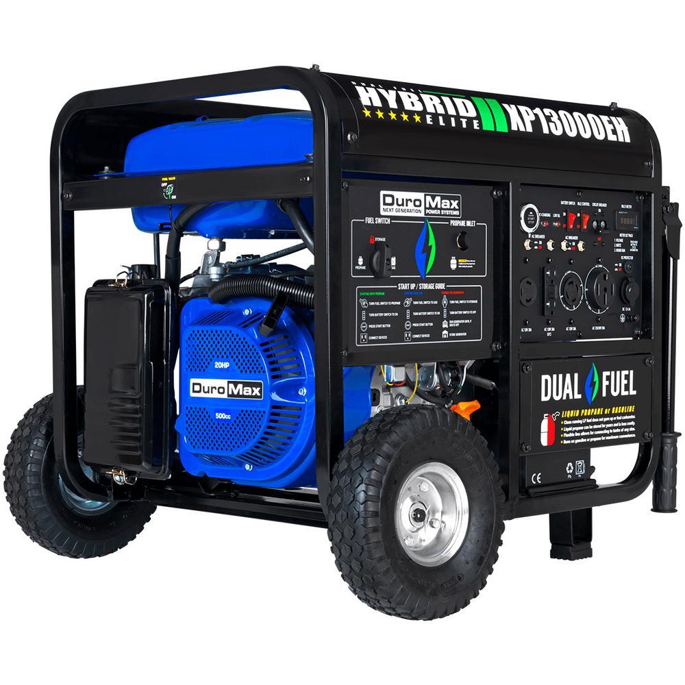 Duromax 13000-Watt/10500-Watt Portable Hybrid Propane Gasoline Powered Push Button Start Generator
