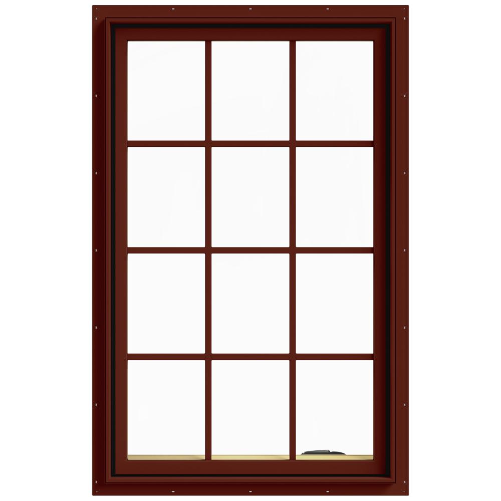 JELD-WEN 30 in. x 48 in. W-2500 Series Red Painted Clad Wood Right-Handed Casement Window with Colonial Grids/Grilles
