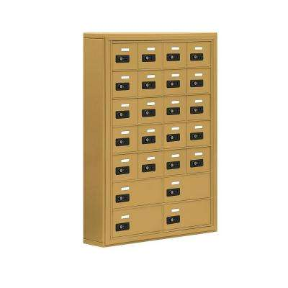 19000 Series 30.5 in. W x 42 in. H x 6.25 in. D 20 A/4 B Doors S-Mount Resettable Locks Cell Phone Locker in Gold