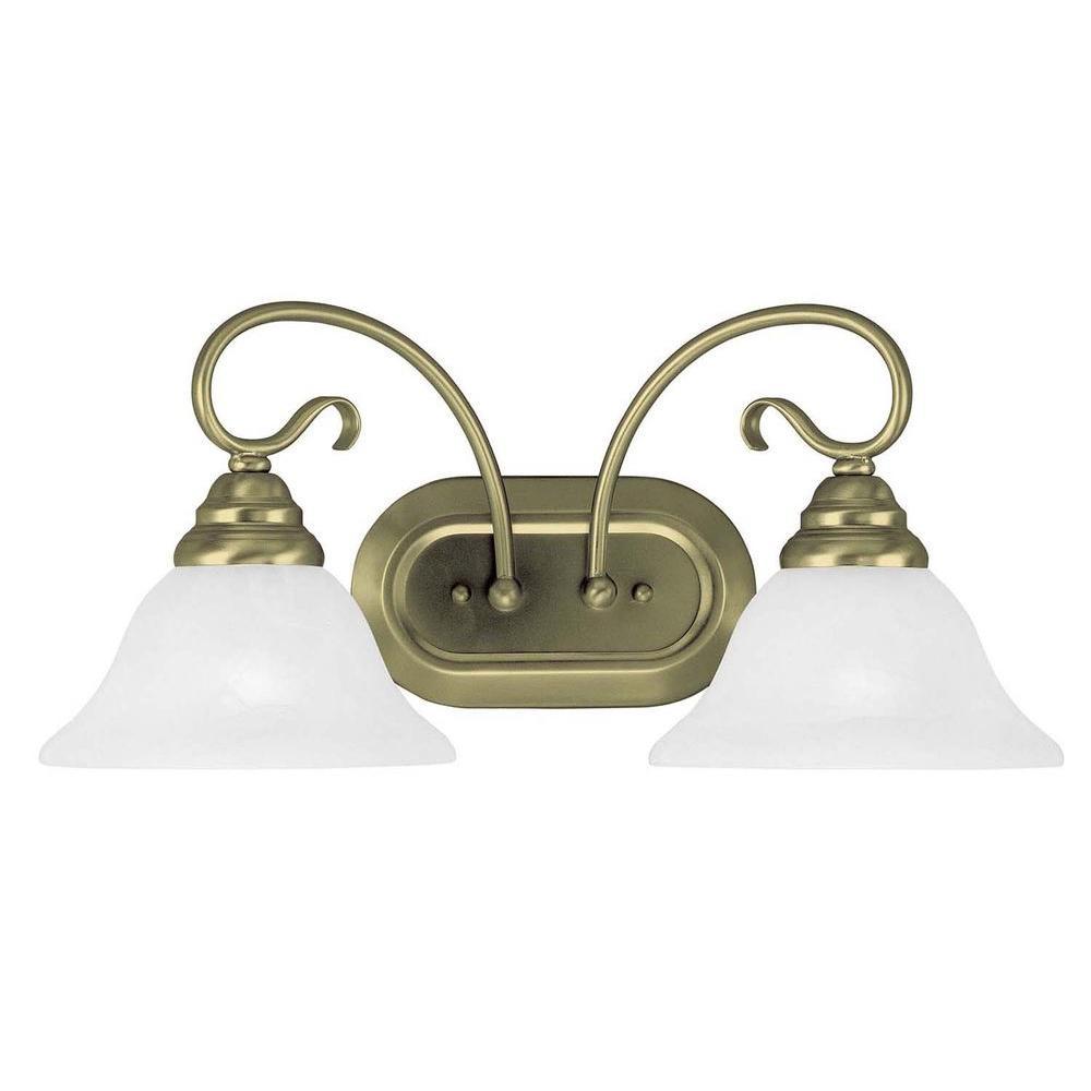 Livex Lighting Providence 2-Light Antique Brass Incandescent Bath Vanity Light