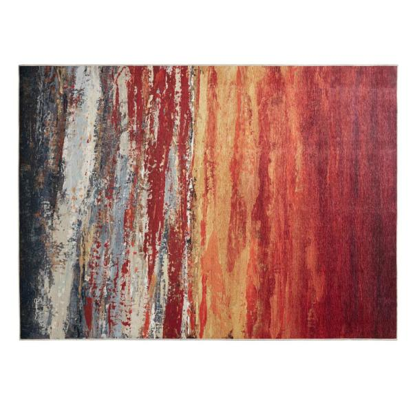 Aurora Red Orange 8 Ft X 10 Ft Printed Matte Area Rug Mp35 6806 The Home Depot