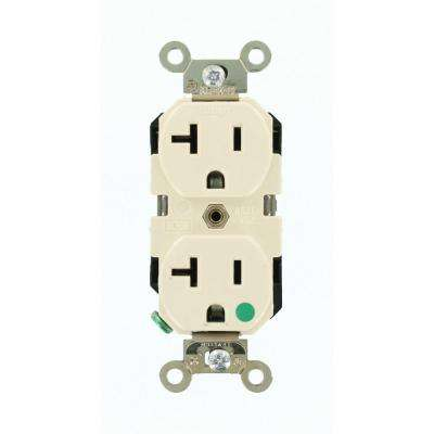 20 Amp Hospital Grade Extra Heavy Duty Self Grounding Duplex Outlet, Light Almond