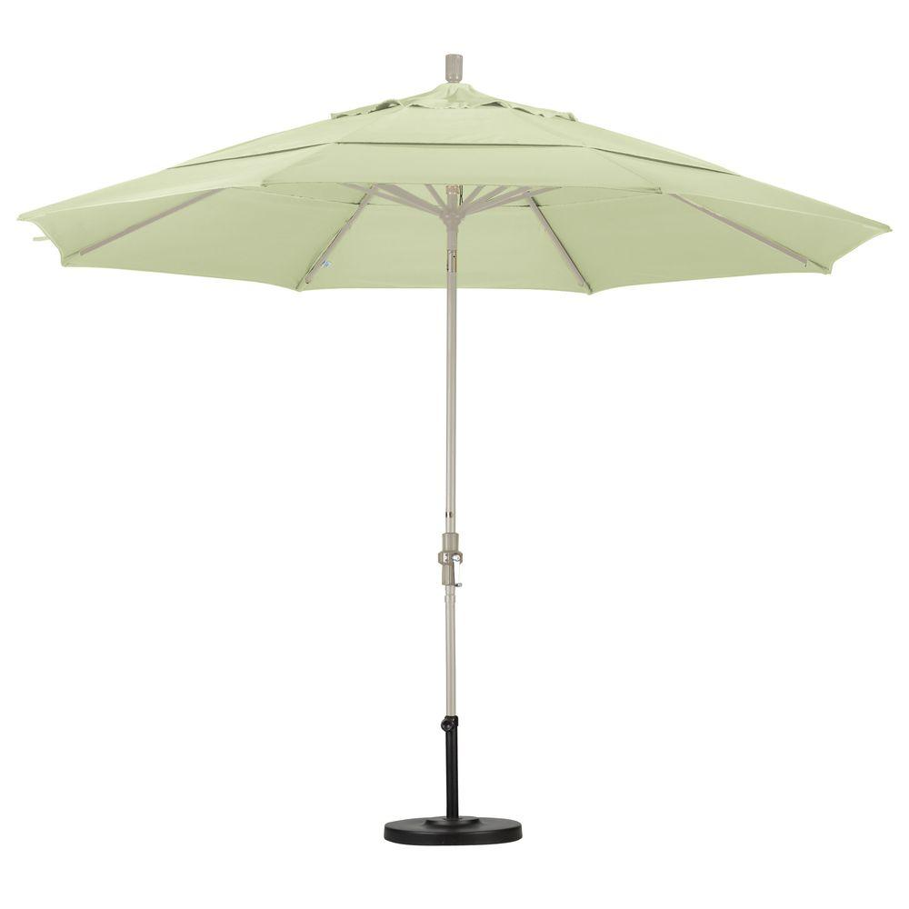 California Umbrella 11 ft. Fiberglass Collar Tilt Double Vented Patio Umbrella in White Olefin