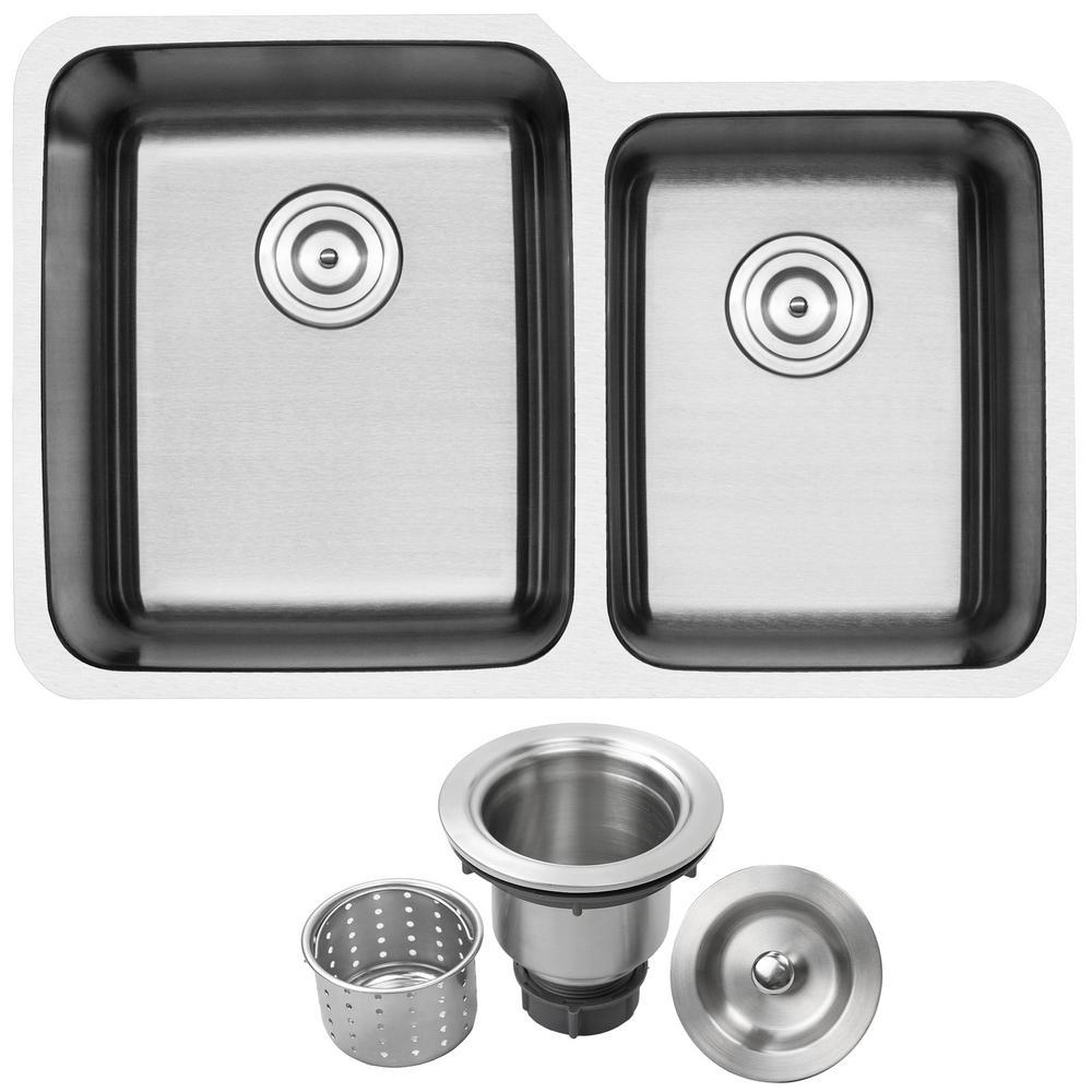 Haven Undermount 16-Gauge Stainless Steel 32 in. Double Basin Kitchen Sink with Basket Strainer