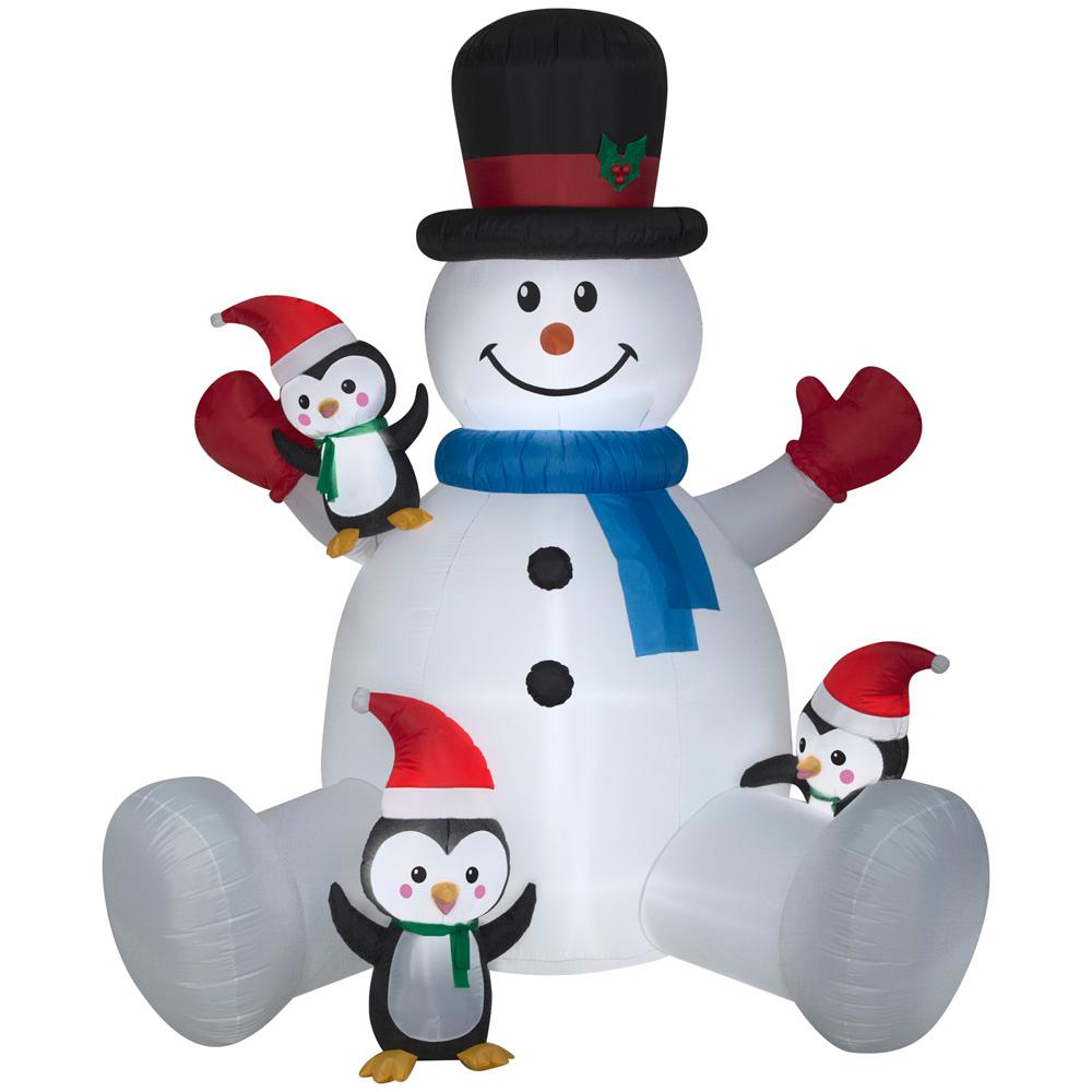 Home Accents Holiday 9.51 ft. Pre-lit Inflatable Snowman with ...