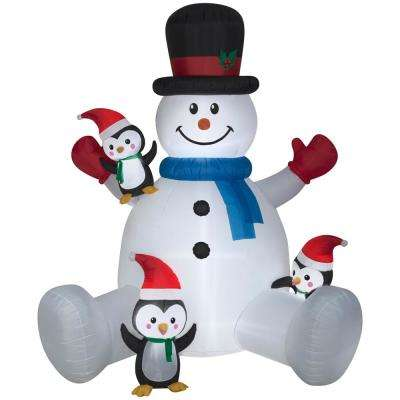 Christmas Inflatables Outdoor rare snoopy christmas inflatable 7 ft tall lighted outdoor christmas decorations christmas lights christmas Pre Lit Inflatable Snowman With Penguins Climbing Airblown