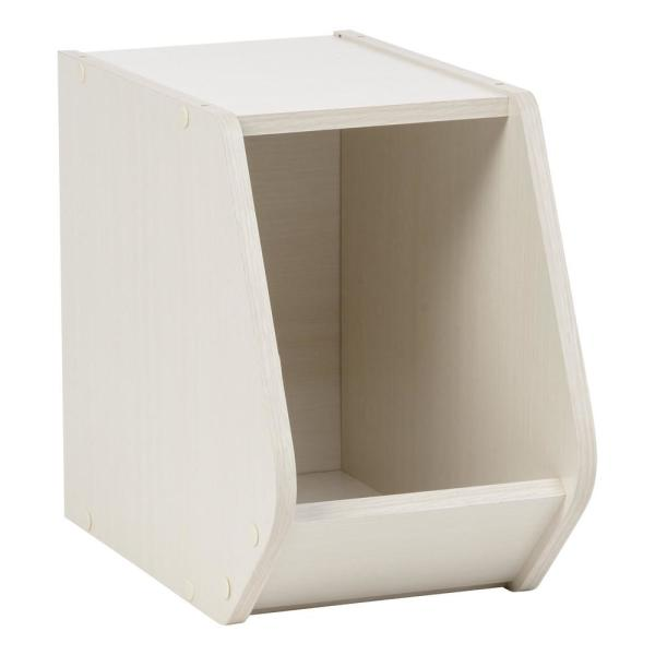 IRIS TACHI Off White Narrow Modular Wood Stacking Open Storage Box