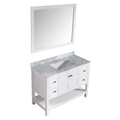 Montaigne 48 in. W x 22 in. D Vanity in White with Marble Vanity Top in Carrara White with White Basin and Mirror