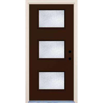 36 in. x 80 in. Left-Hand Earthen 3 Lite Rain Glass Painted Fiberglass Prehung Front Door with Brickmould