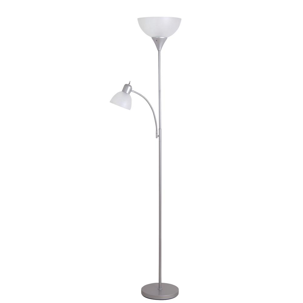 High Quality Silver Torchiere Floor Lamp With Adjustable Reading Light