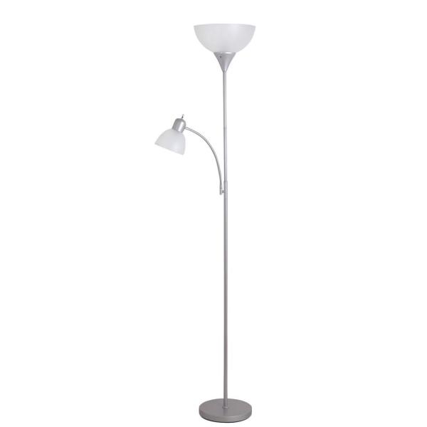 Cresswell 71 65 In Silver Torchiere Floor Lamp With Adjustable