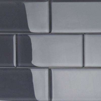 Contempo Smoke Gray Polished 3 in. x 6 in. x 8 mm Glass Subway Tile