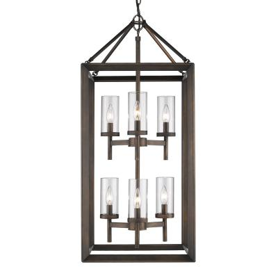 Smyth 6-Light Gunmetal Bronze Pendant with Clear Glass