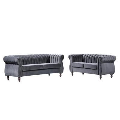 Louis Grey Velvet Nailhead Living Room Set Sofa and Loveseat