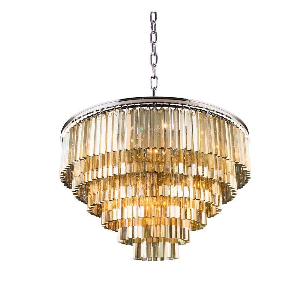 Sydney 33-Light Polished Nickel Chandelier with Golden Teak Smoky Crystal