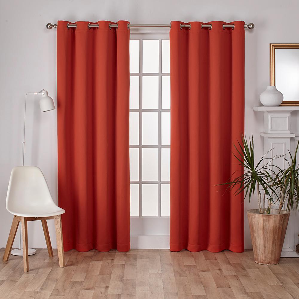 Sateen 52 in. W x 96 in. L Woven Blackout Grommet Top Curtain Panel in Mecca Orange (2 Panels)