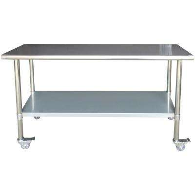 Superior Stainless Steel Kitchen Utility Table With Locking Casters