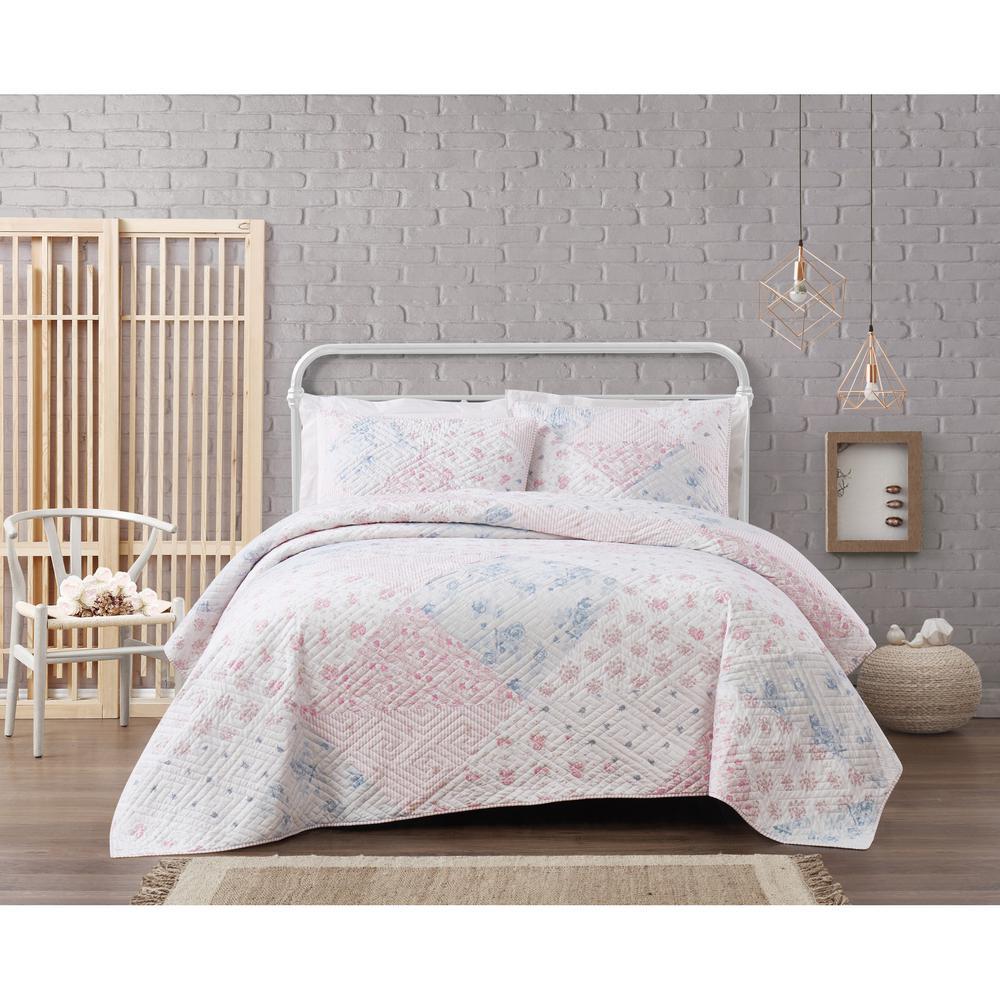 Hallie Floral Cotton 3-Piece Multi Color Full/Queen Quilt Set