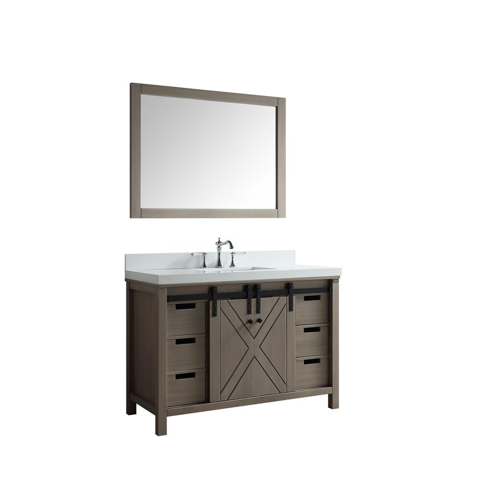 Lexora Marsyas 48 in. Single Bath Vanity in Ash Grey with White Quartz Vanity Top with White Square Sink and Mirror