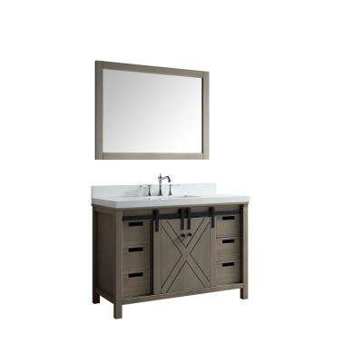 Marsyas 48 in. Single Bath Vanity in Ash Grey with White Quartz Vanity Top with White Square Sink and Mirror
