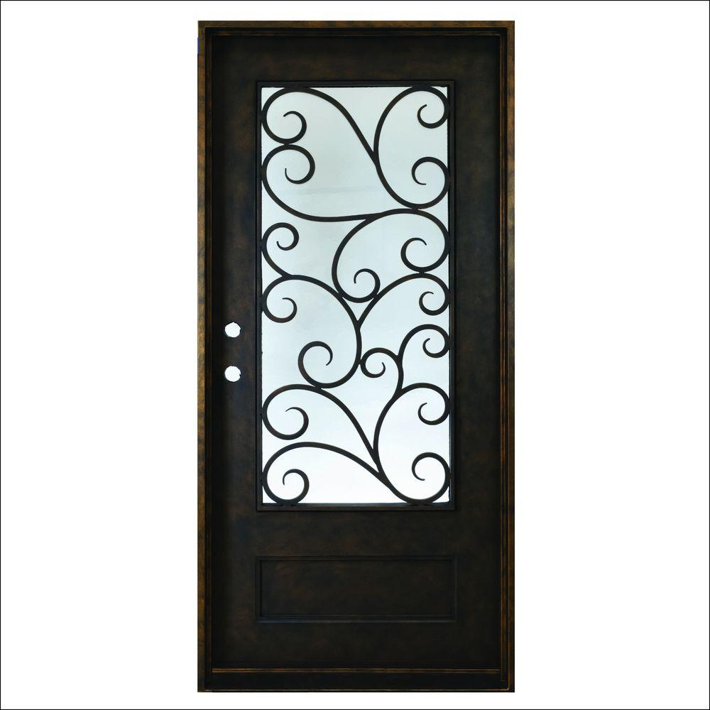 Steves Sons 37 5 In X 81 In Cascade Antique Rubbed Bronze Right