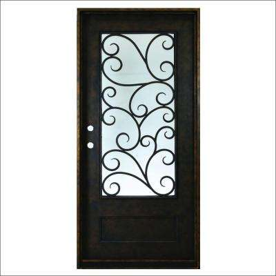 37.5 in. x 81 in. Cascade Antique Rubbed Bronze Right-Hand Inswing Painted Decorative Iron Prehung Front Door
