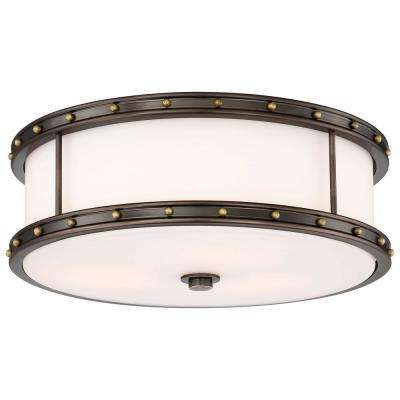 3-Light Harvard Court Bronze with Liberty Gold Highlights Flushmount with Etched Opal Glass
