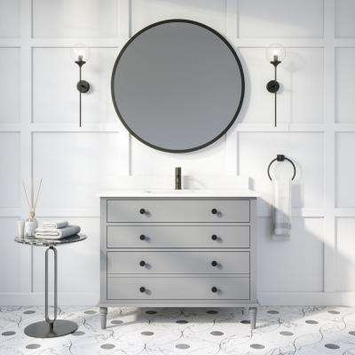 Flynn 42 in. W x 22 in. D Bath Vanity in Gray ENGRD Stone Vanity Top in White with White Basin Power Bar and Organizer