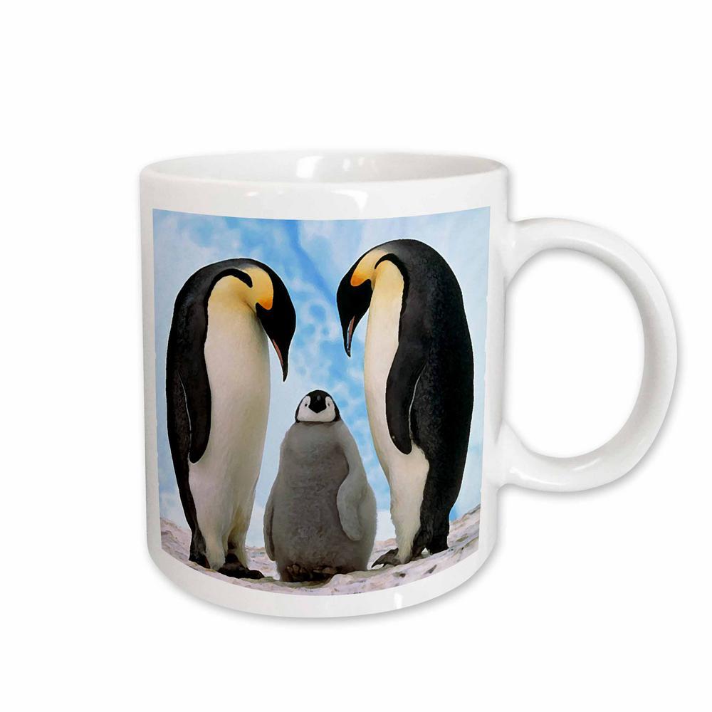 Birds 11 oz. White Ceramic Emperor Penguin Family Mug