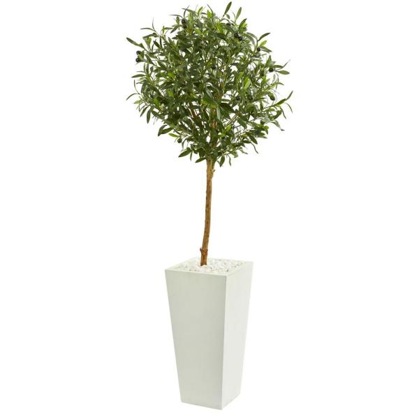 Nearly Natural Indoor 56-In. Olive Artificial Tree in White Tower Planter