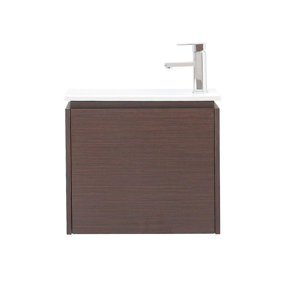 Avanity Milo 21.9 in. W x 13.4 in. D x 20 in. H Vanity in Iron Wood with Vitreous China Vanity Top in White