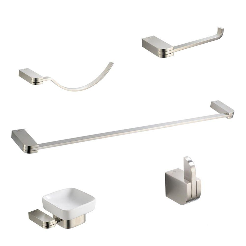 Solido Brass 5-Piece Bathroom Accessory Set in Brushed Nickel