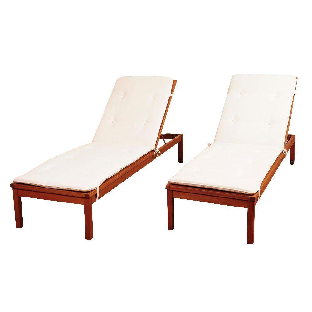Amazonia murano 2 piece eucalyptus wheel patio lounger set for Amazon chaise longue