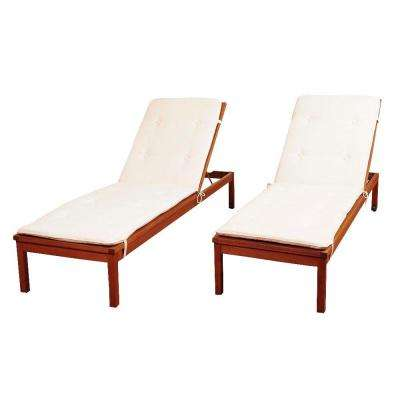 Murano 2-Piece Eucalyptus Wheel Patio Lounger Set with White Cushions