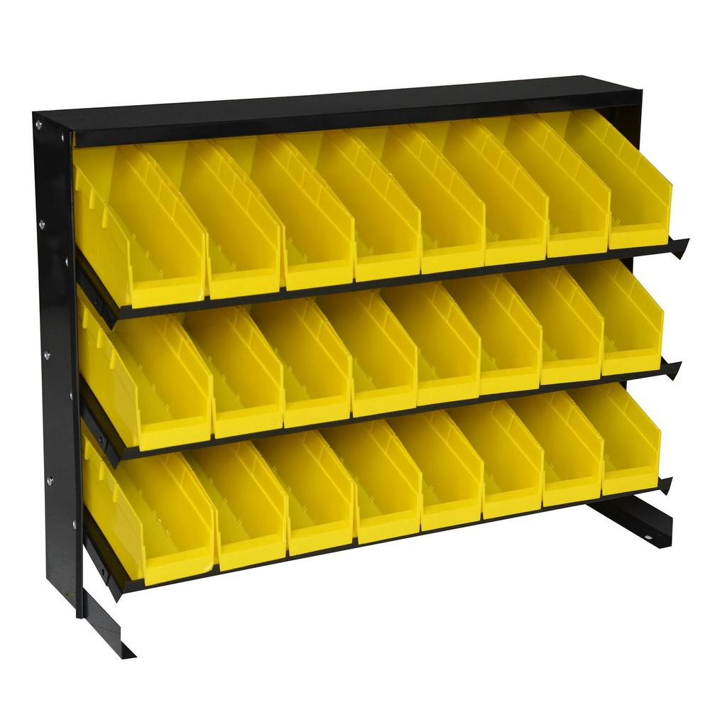 Steel Core 24-Compartment Parts Rack and Small Parts Organizer with Removable Bins in Yellow