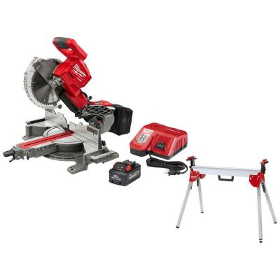 Milwaukee M18 FUEL 18-Volt Lithium-Ion Brushless Cordless 10 in. Dual Bevel Sliding Compound Miter Saw Kit w/ Miter Saw Stand