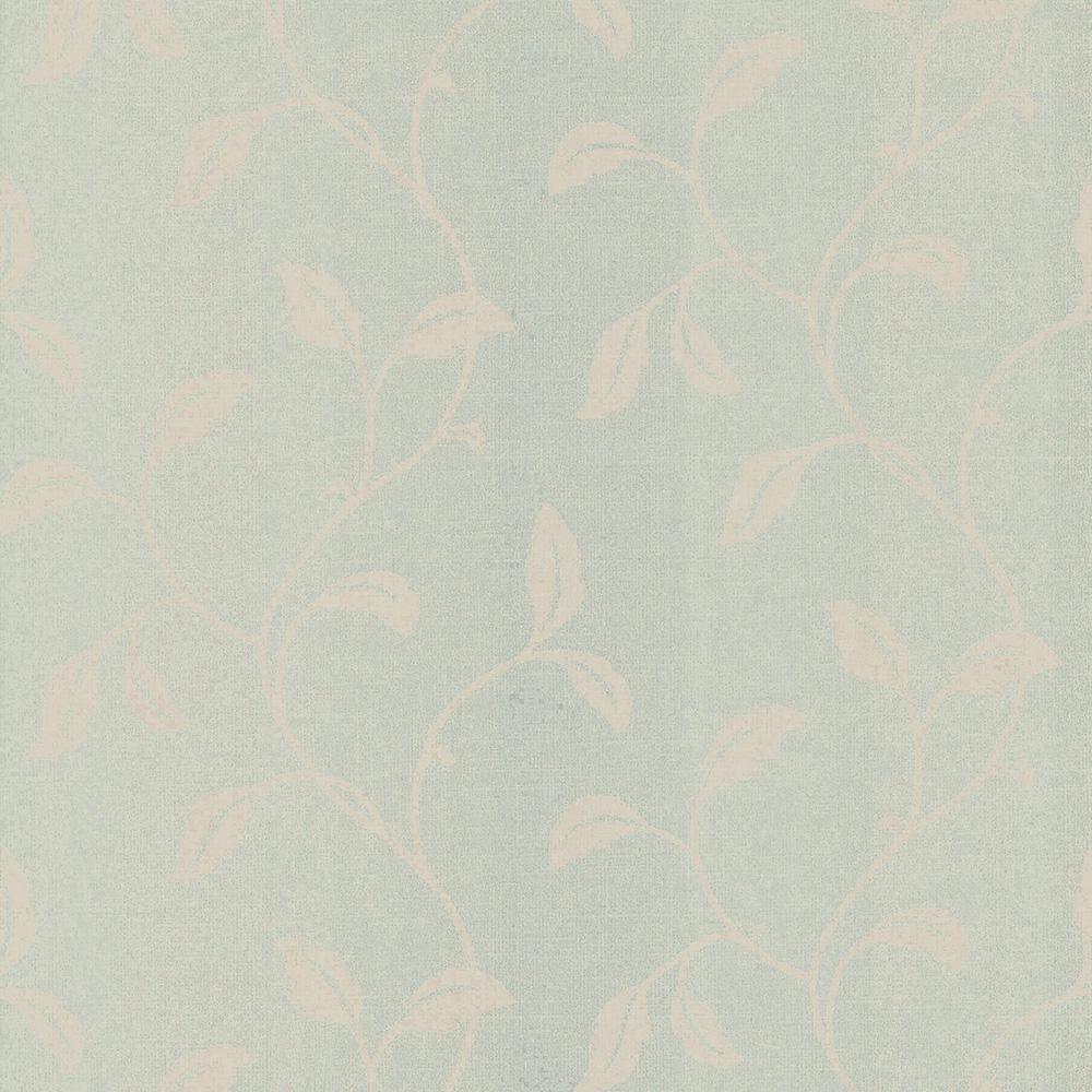 56.4 sq. ft. Hammett Green Textured Leaf Trail Wallpaper