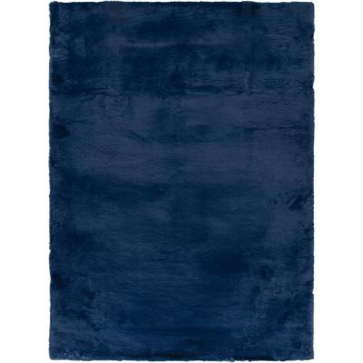 NATCO PRODUCTS CORP Bazaar Piper Navy 8 ft. x 10 ft. Solid Polyester Area Rug, Blue