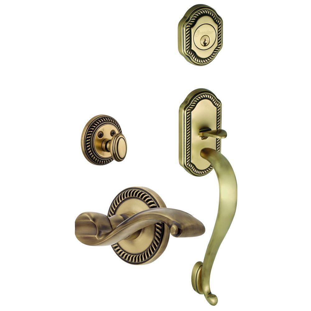 Grandeur Newport Single Cylinder Vintage Brass S-Grip Handleset with Left Handed Portofino Lever
