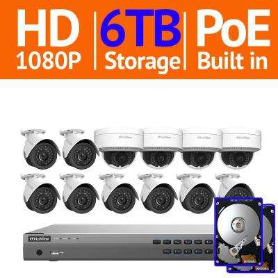 16-Channel 1080p HD 6TB NVR Surveillance System (8) 1080p Bullet and (4) Dome Indoor/Outdoor Security Cameras Free App