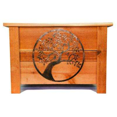 24 in. x 24 in. Redwood Planter with Metal Oak Tree Art