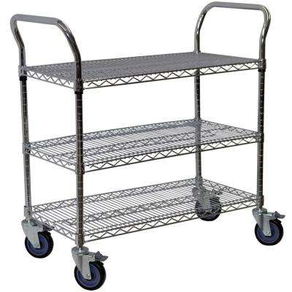 3-Shelf Steel Wire Service Cart in Chrome