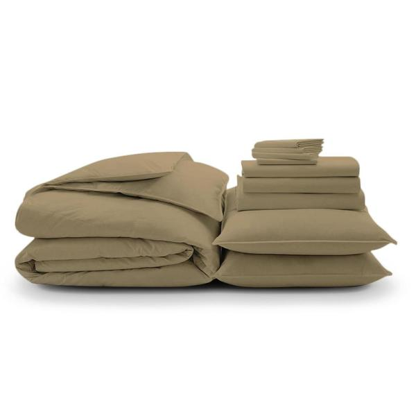 10-Piece Sand Solid 300 Thread Count Cotton Queen Sheet Set
