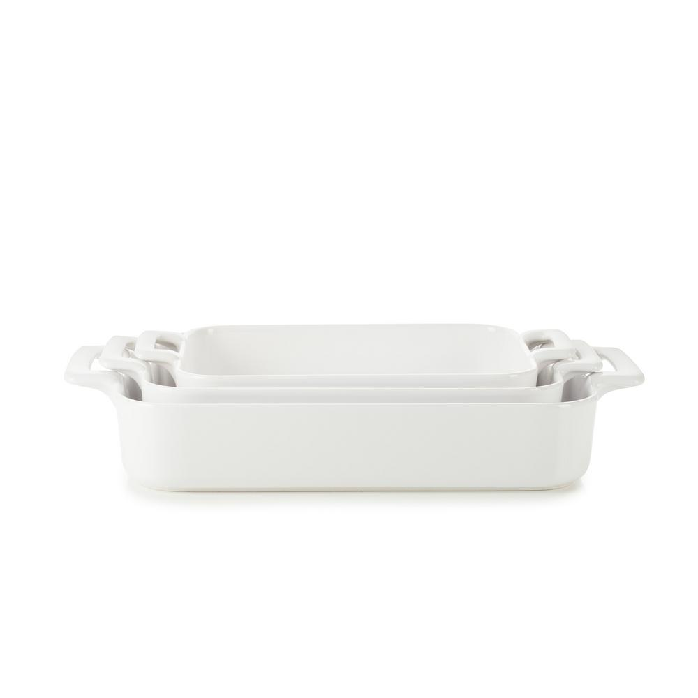 Belle Cuisine 3-Piece Rectangular Porcelain Roasting Dish Set in White