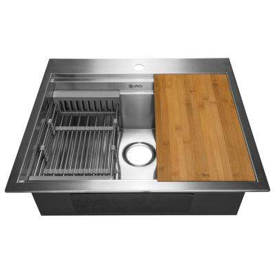 Handcrafted All-in-One Drop-In Stainless Steel 25 in. x 22 in. x 9 in. Single Bowl Kitchen Sink