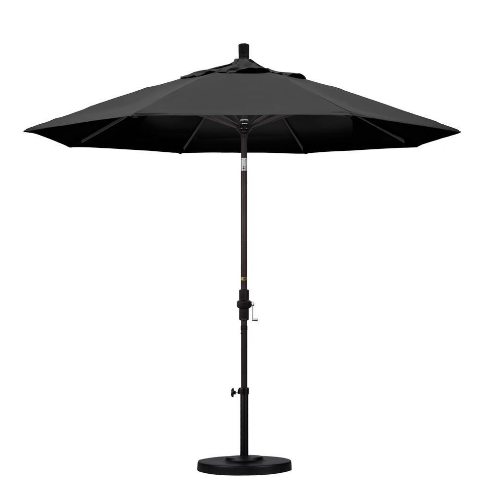 California Umbrella 9 ft. Aluminum Collar Tilt Patio Umbrella in Black Olefin