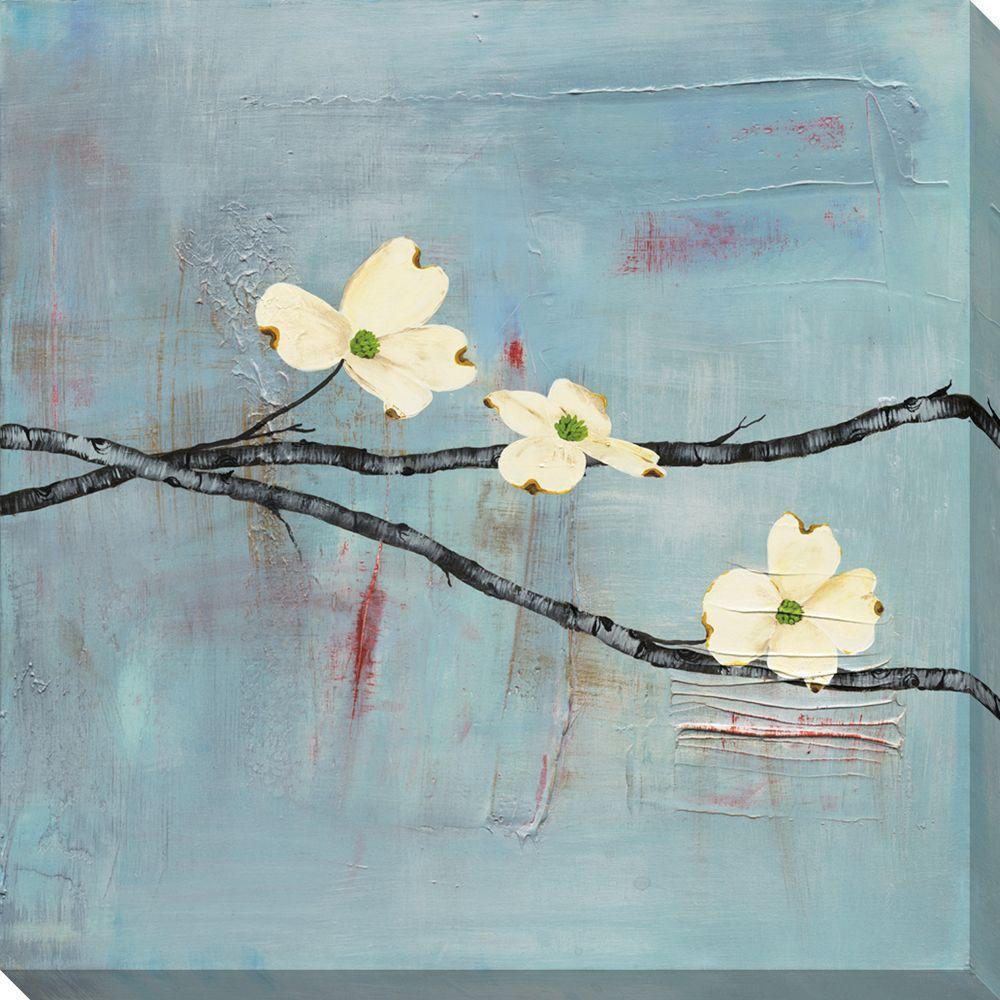NEP Art 40 in. x 40 in. Dogwood on Blue II Oversized Canvas Gallery Wrap