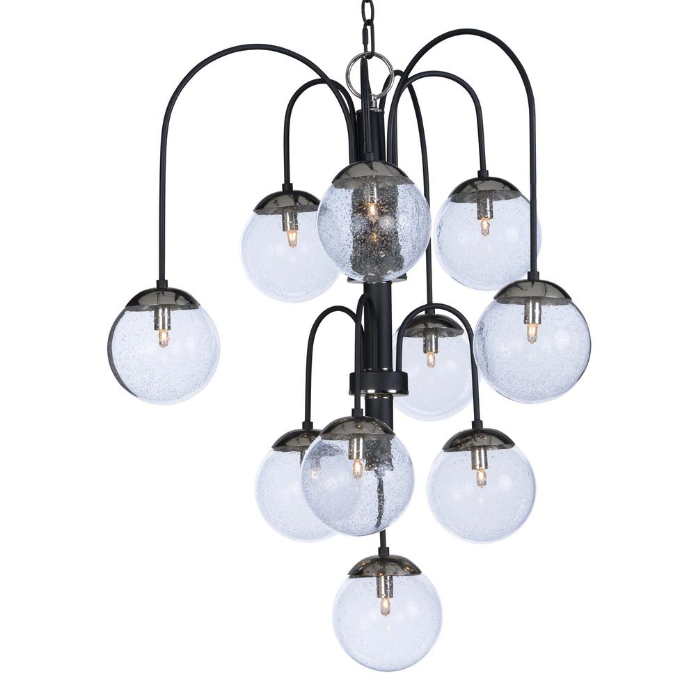 Maxim Lighting Reverb 30 in. W 10-Light Textured Black/Polished Nickel Chandelier with Bubble Glass Shade